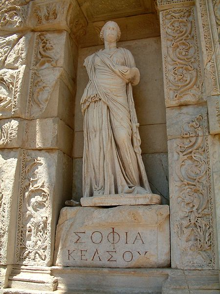 Personification of wisdom at the Celsus Library in Ephesus, Turkey.